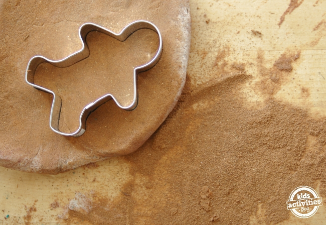 gingerbread man play dough activity for kids