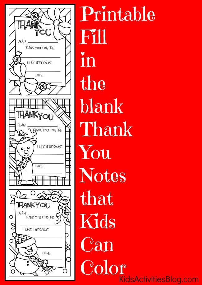 Printable {Fill-in-the-Blank} Thank You Cards - Kids Activities Blog