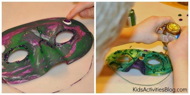 Kids get creative when they make this mardi gras mask