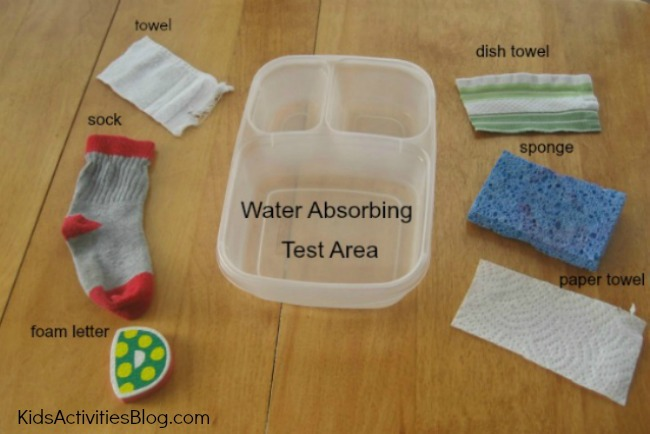 Kids love hands on learning like this water absorption science activity