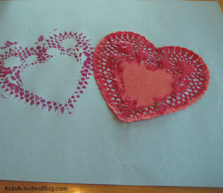 Printmaking makes a fun valentines day craft for kids