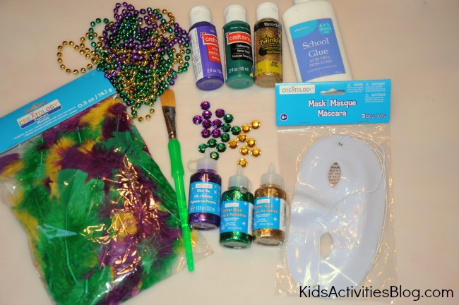 mardi gras supplies to make a mask for kids