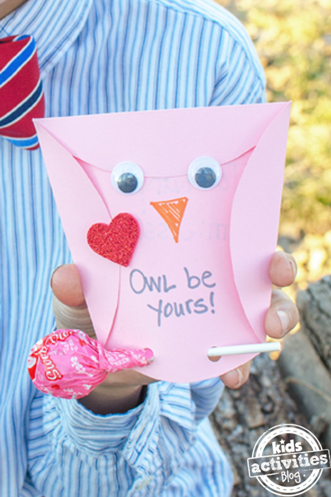 Owl Homemade Valentines Cards {Kids Can Make}