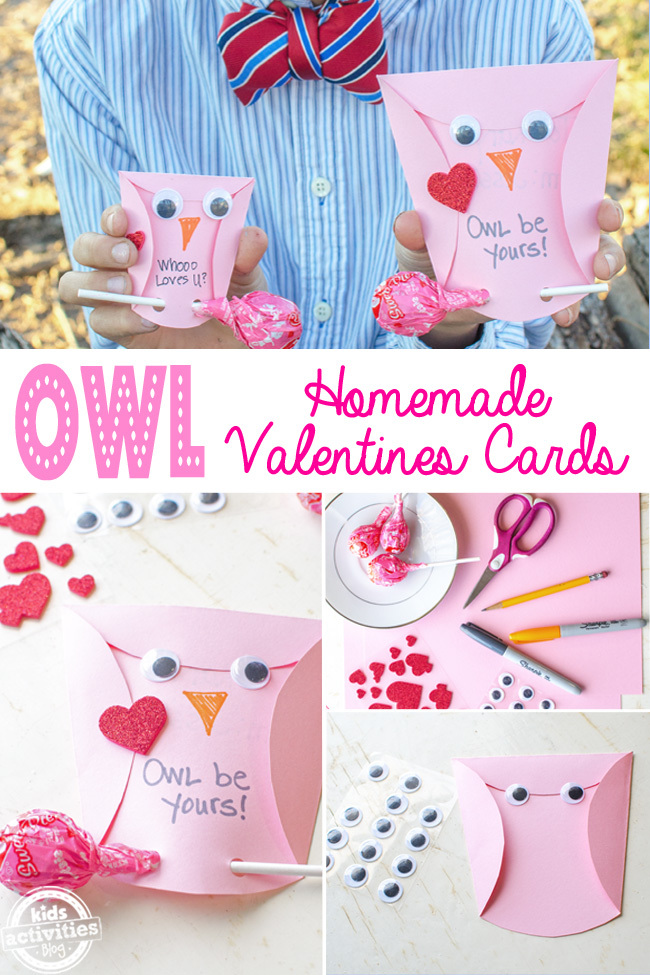 Owl Homemade Valentines Cards Kids Can Make – Valentines Cards from Kids