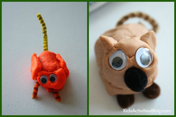 Making playdough animals is so much fun for the whole family. We both made cats and both are super cute and unique!