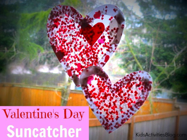 Fun Valentine crafts for kids: Catch the sun with these heart covered suncatchers!