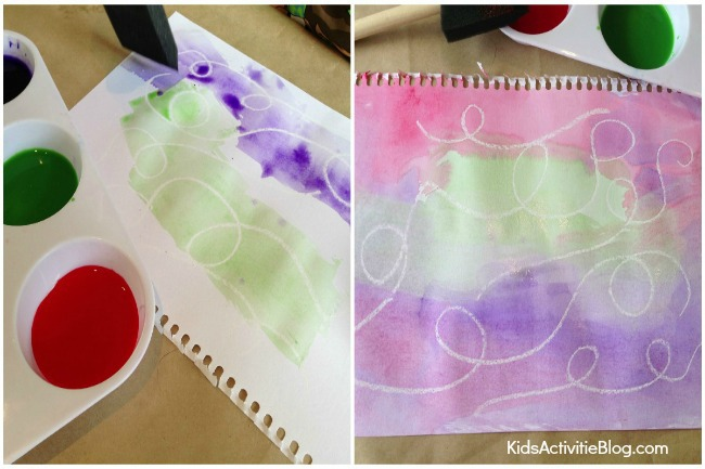 Water Color and Wax Resist Craft for kids {Book Inspired by Here Comes Frankie!}