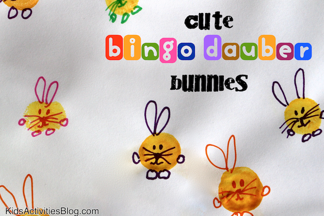 Kids can paint their own Easter bunny with this cute bingo dauber Easter craft
