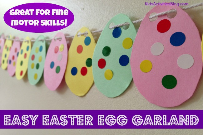 easter crafts for kids make a garland fine motor skills