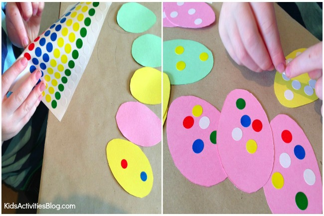 Kids love this easy Easter craft to make a garland of Easter eggs