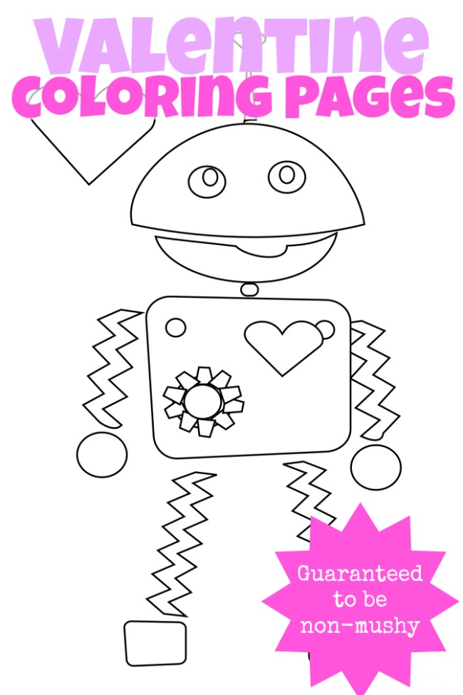 3 NonMushy Valentines Day Coloring Pages