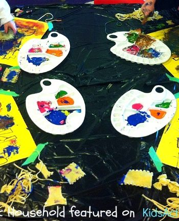 pasta art - preschool art