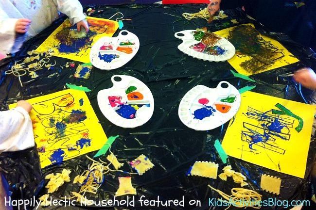 pasta art - preschool art that toddlers can do
