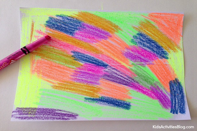 How to Scratch Art with Wax Crayons {Crayon Art}
