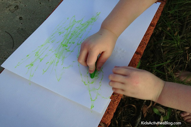 Kids Love This Wax Rubbing Craft with Crayons!