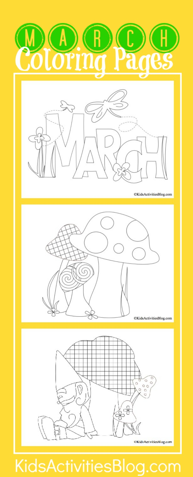 3 Spring March Coloring Pages for Kids