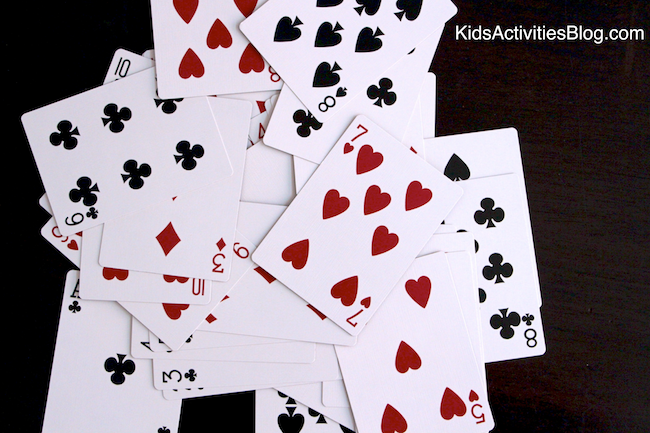 Kids love math with cards.  Try this math game for kids!
