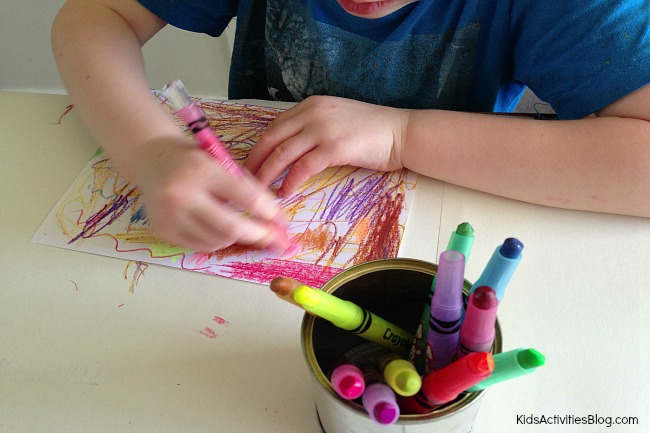 Scratch art for kids {Colorful Crayon Art}