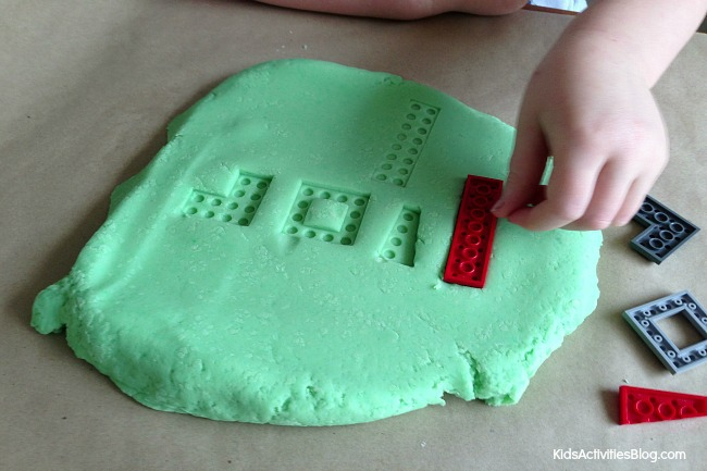 LEGOs puzzle with play dough {Kids love this!}