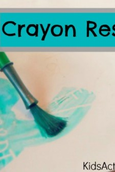 Crayon resist art for kids - Secret art with a white crayon