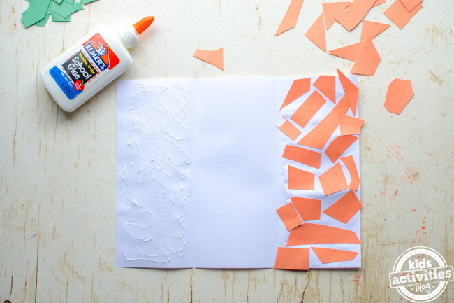 kids irish flag craft - step 4 add glue into the outer 1/3rds