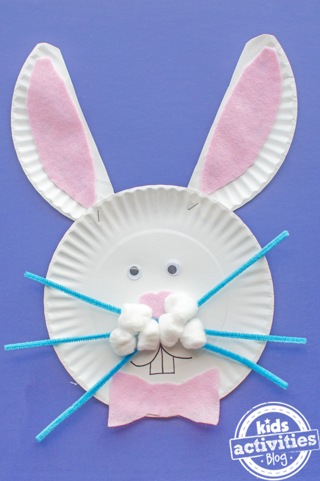 Assiette en carton artisanat lapin de Pâques pour les enfants - Kids Activities Blog
