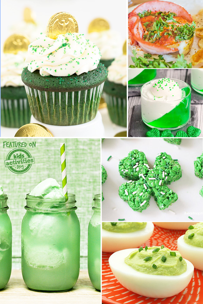 Easy st. patrick's day recipes with green velvet cupcakes, green jello, green shamrock shake, green shamrock rice krispy treats.