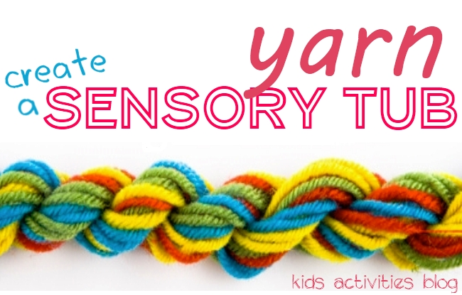 make a sensory tub with yarn