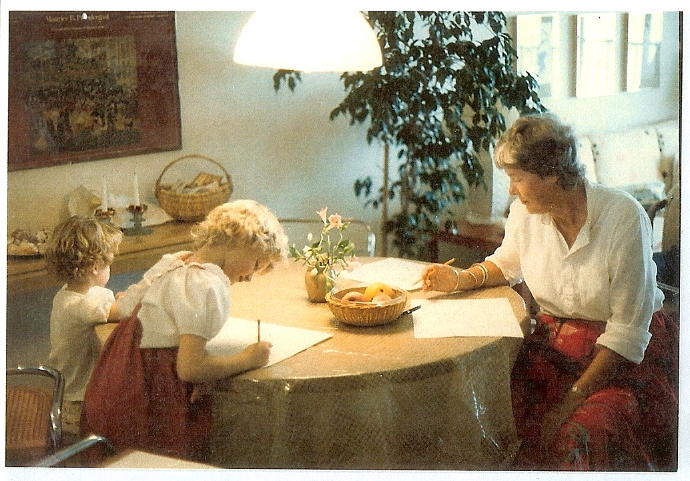 Jean Van't Hul Drawing with Sister and Grandmother