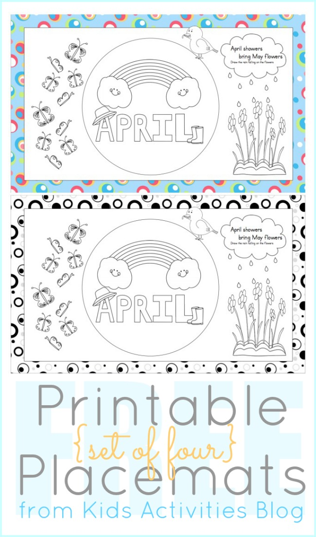 picture relating to Printables Blog known as Printables towards Coloration April Placemats for Youngsters