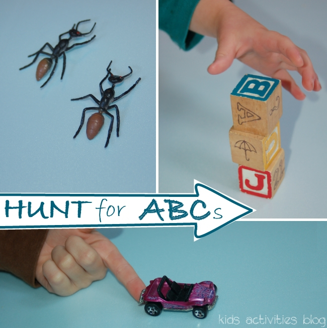 abc hunt with toys