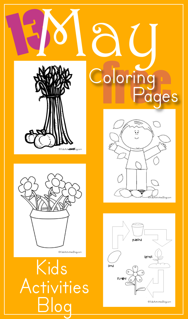 Free Printable Coloring Pages for Kids for the Month of May!