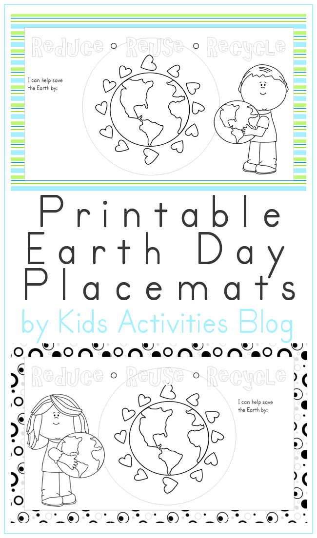Free Earth Day Printable Placemats