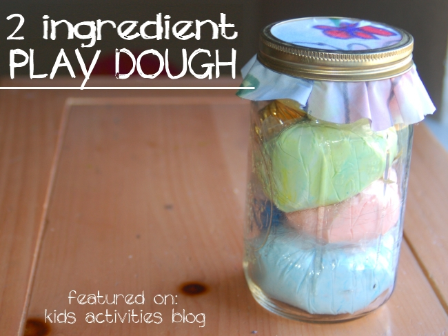{2 ingredient no cook play dough} Great gift ideas for kids - Play Dough Recipe