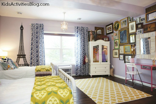 Room makeover shared room paris themed room for Kids room makeover