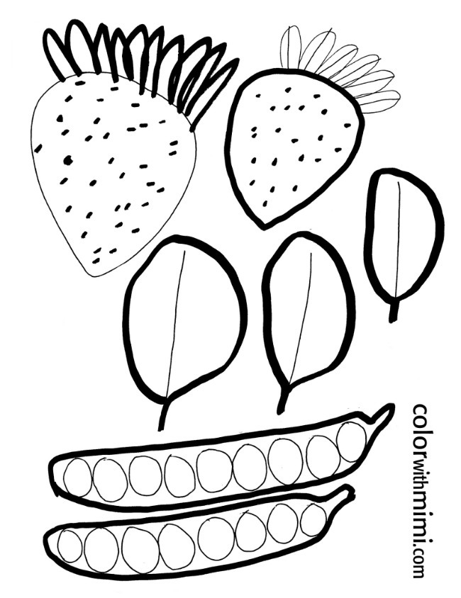 spring coloring page - fruit and vegetables