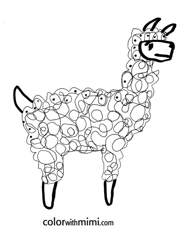 spring coloring page - llama