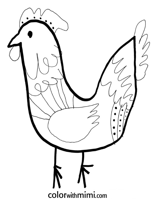 spring coloring page - rooster