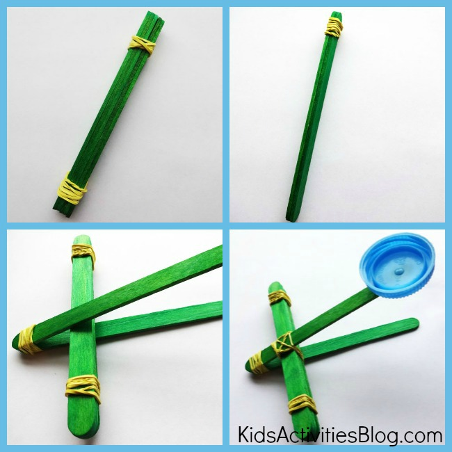 Kids can build a catapult and launch something fun while learning catapult science at the same time