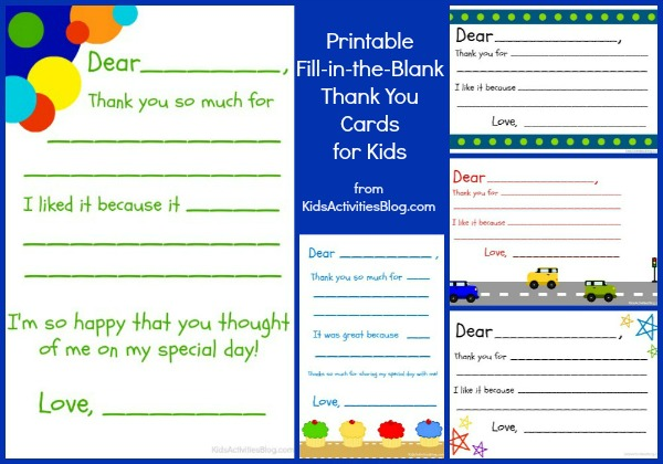 Fill in the blank thank you note free printable for Read write think postcard template