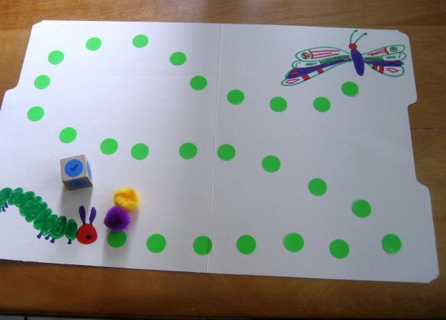 Caterpillar game for kids: Cute file folder game to make