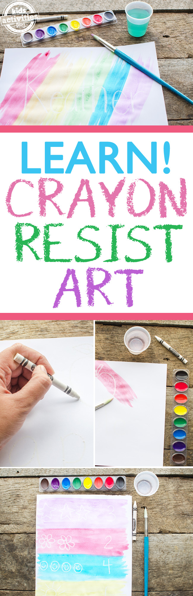 kids crayon resist art
