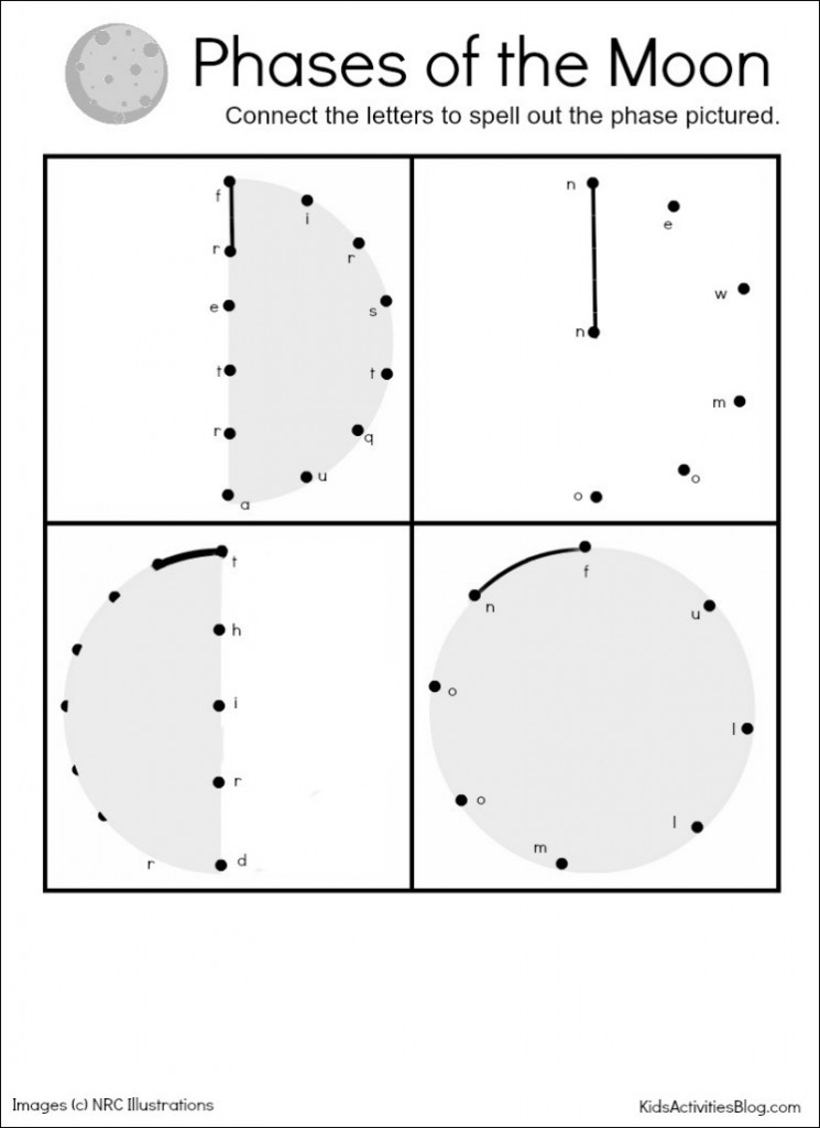 Phases of the Moon Moon Activities and a free printable – Phases of the Moon for Kids Worksheet