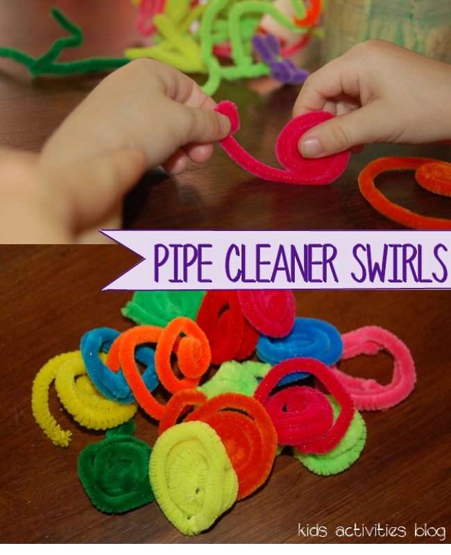step 1 - make pipe cleaner flowers - pipe cleaner swirls 2 different methods shown