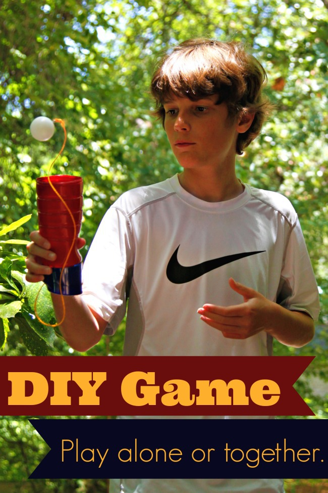 DIY Ball and Cup Game made with Recycled International Delight bottles