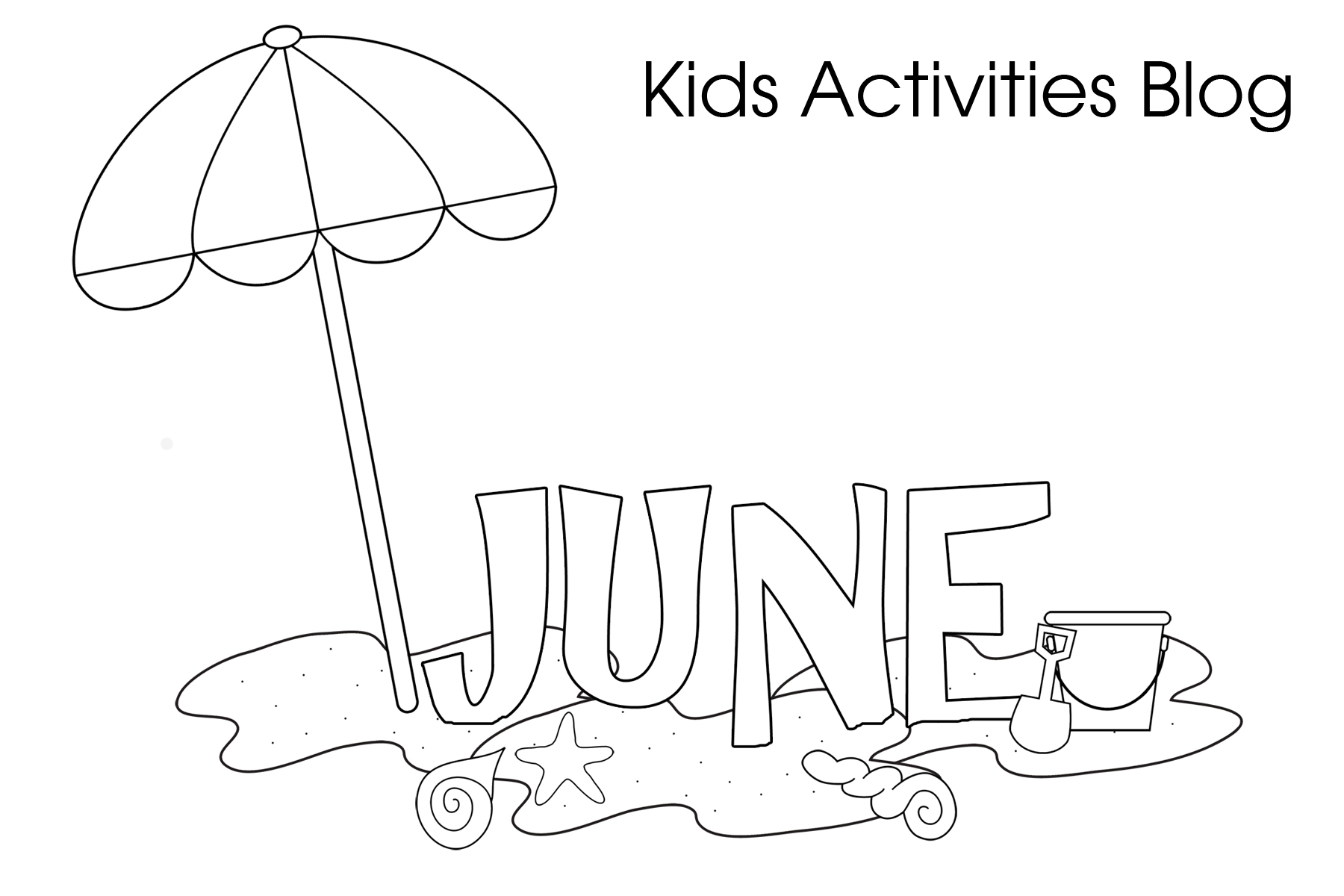 Free coloring pages for june - Beach