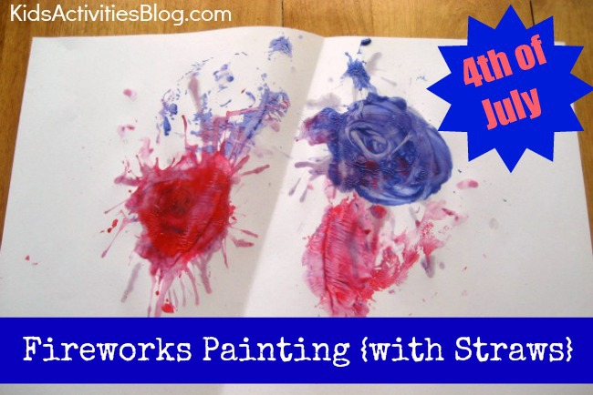 4th of July: Painting Fireworks with Straw Painting