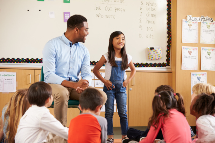 Public speaking for kids - public speaking games - girl in front of class