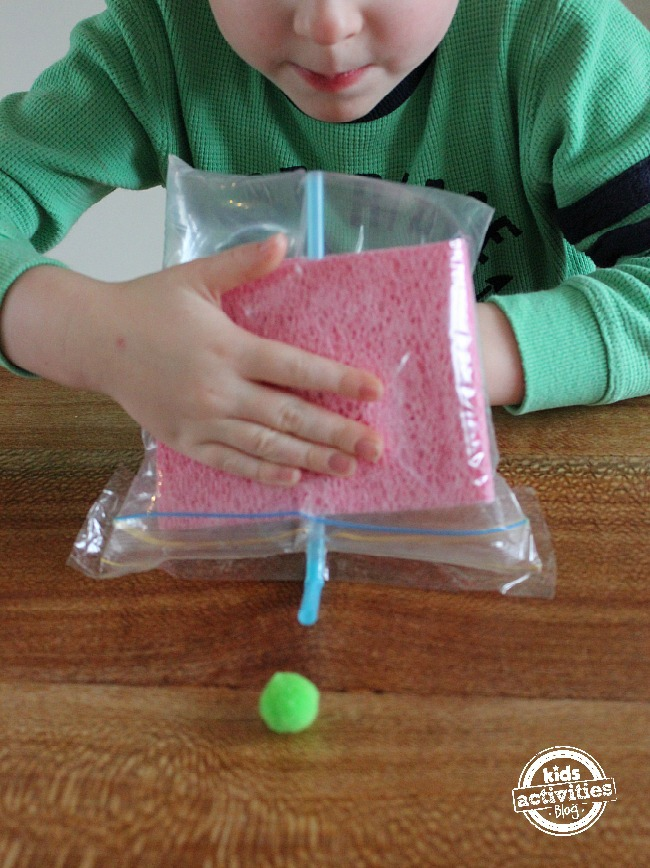 Demonstrate air pressure - ziploc bag moves items
