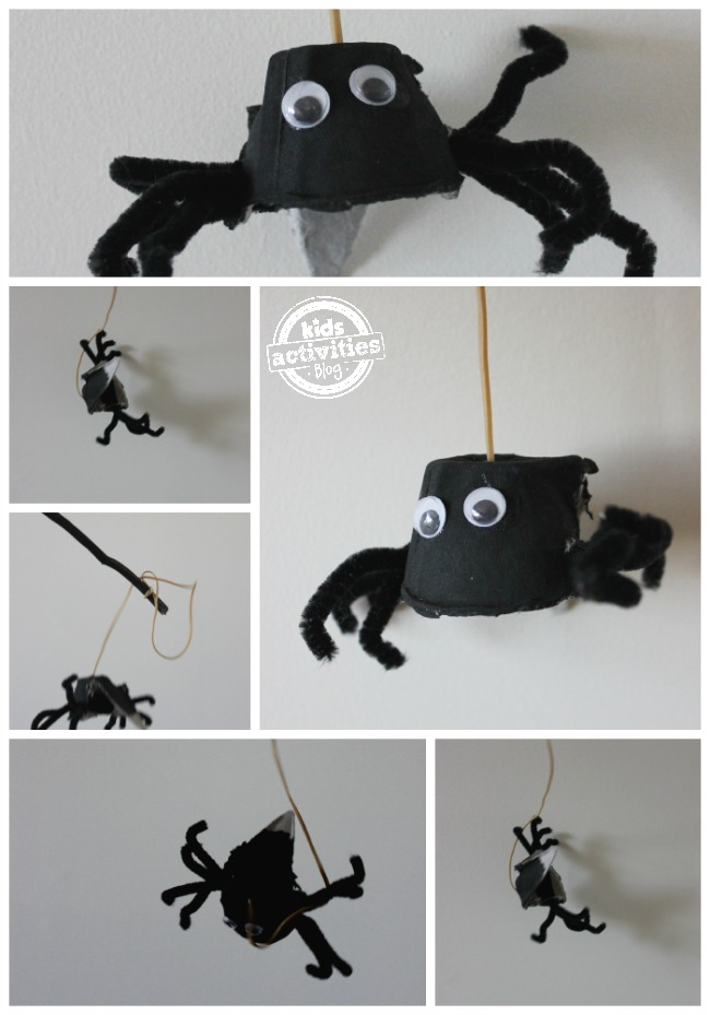 Spider craft for kids with a spider hanging from a stick by a rubber band.